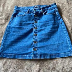 Light denim button skirt